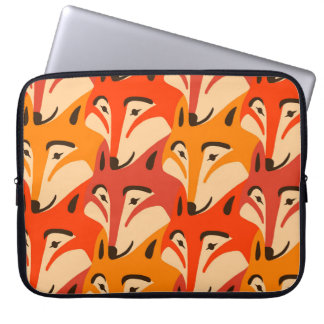 Fox face dogtooth pattern laptop sleeve