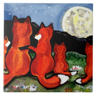 "Fox Family Watching Moon Dark Blue 6"" Tile Trivet"