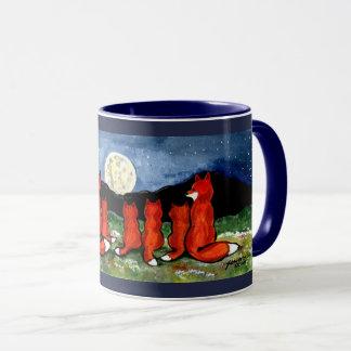 Fox Family Watching Moon Dark Blue Design Mug