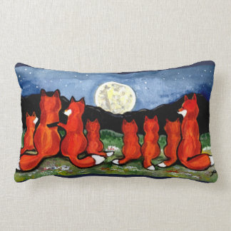 Fox Family with Kits and Moon Designer Pillow