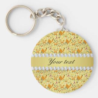 Fox Faux Gold Foil Bling Diamonds Basic Round Button Keychain