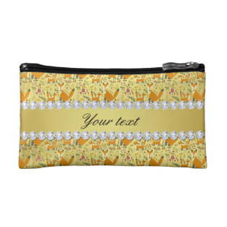 Fox Faux Gold Foil Bling Diamonds Cosmetic Bag