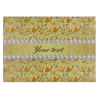 Fox Faux Gold Foil Bling Diamonds Cutting Board