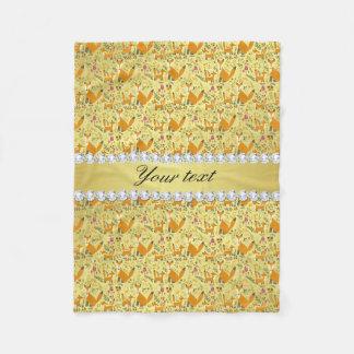 Fox Faux Gold Foil Bling Diamonds Fleece Blanket