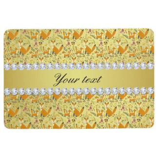 Fox Faux Gold Foil Bling Diamonds Floor Mat