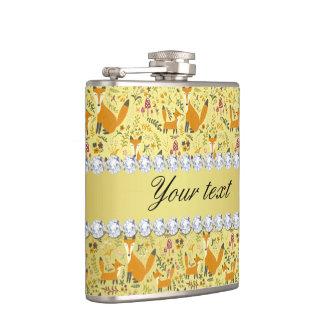 Fox Faux Gold Foil Bling Diamonds Hip Flask
