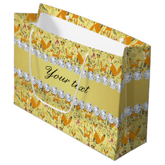 Fox Faux Gold Foil Bling Diamonds Large Gift Bag