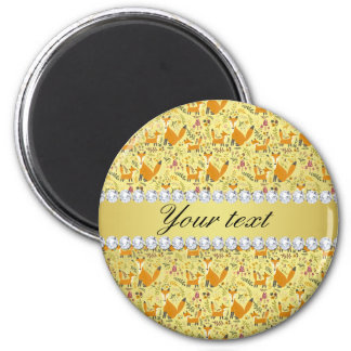 Fox Faux Gold Foil Bling Diamonds Magnet
