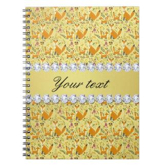 Fox Faux Gold Foil Bling Diamonds Notebook