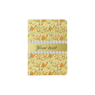 Fox Faux Gold Foil Bling Diamonds Passport Holder