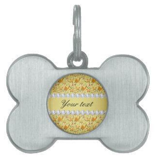 Fox Faux Gold Foil Bling Diamonds Pet Name Tag