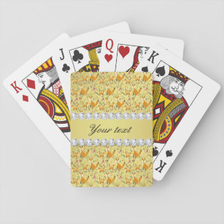 Fox Faux Gold Foil Bling Diamonds Playing Cards