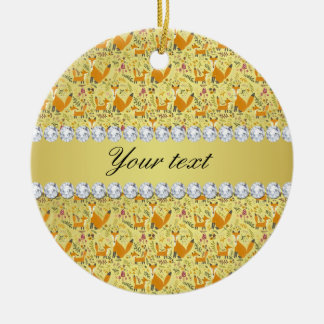 Fox Faux Gold Foil Bling Diamonds Round Ceramic Ornament