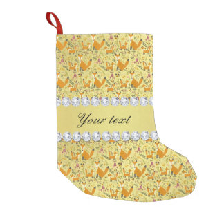 Fox Faux Gold Foil Bling Diamonds Small Christmas Stocking