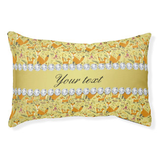 Fox Faux Gold Foil Bling Diamonds Small Dog Bed