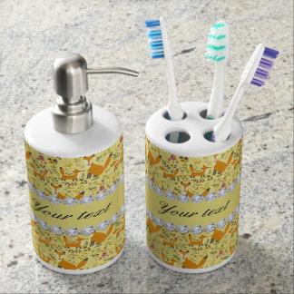 Fox Faux Gold Foil Bling Diamonds Soap Dispenser And Toothbrush Holder