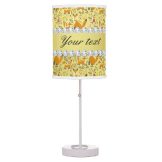 Fox Faux Gold Foil Bling Diamonds Table Lamp