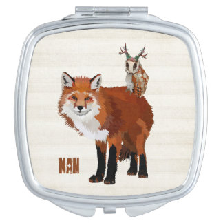FOX & FLORAL ANTLER OWL Compact Mirror