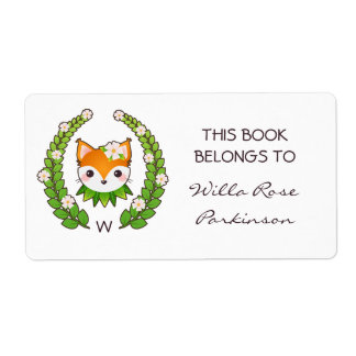Fox Floral Wreath This Book Belongs To