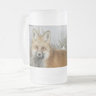fox frosted mug, fox beer tanker, fox gift frosted glass beer mug