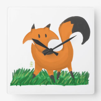 Fox garden square wall clock