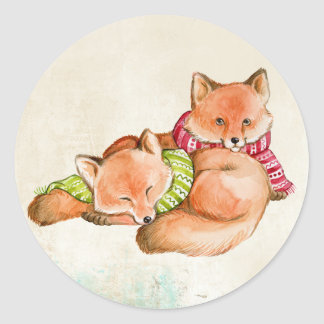 FOX GIFTS - ADORABLE CUSTOMIZABLE FOXES CLASSIC ROUND STICKER