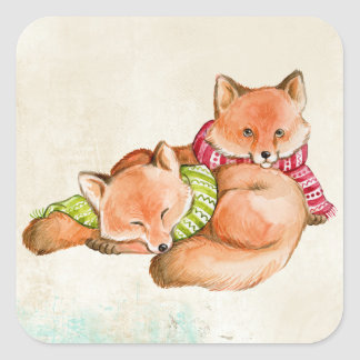 FOX GIFTS - ADORABLE CUSTOMIZABLE FOXES SQUARE STICKER