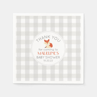 Fox gingham neutral gender baby shower decor paper napkins