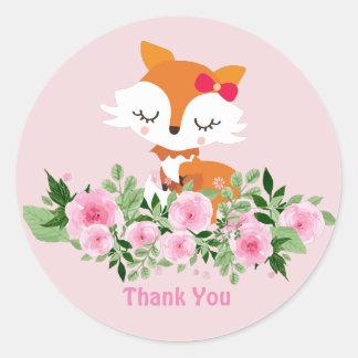 Fox Glossy Classic Round Sticker
