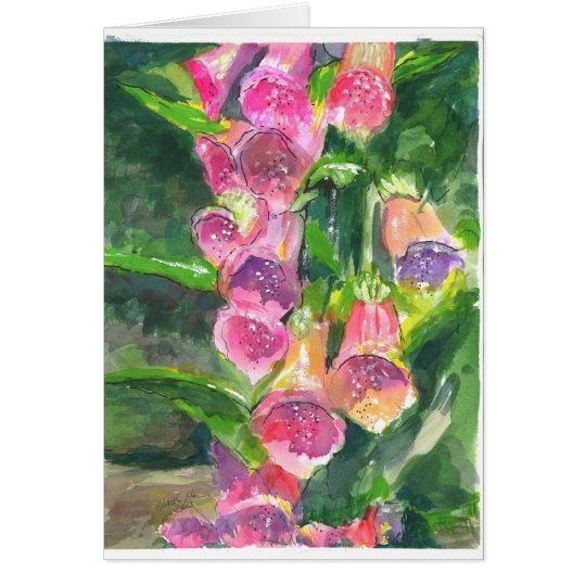 Fox glove flowers card