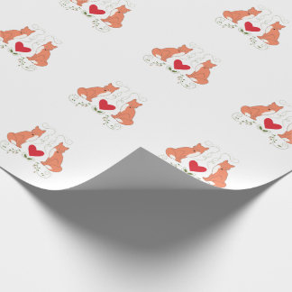 Fox & Heart Vine Print Wrapping Paper - White