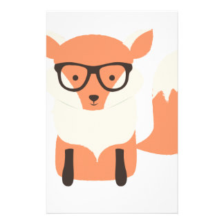 Fox Hipster Personalized Stationery