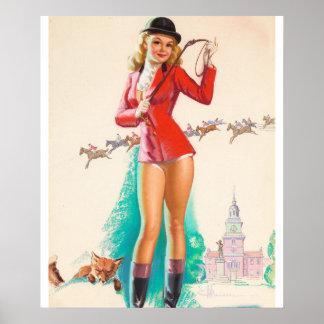 Fox Hunt Pin Up Art Poster