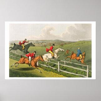 Fox Hunting, aquatinted by I. Clark, pub. by Thoma Poster