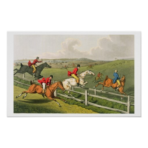 Fox Hunting, aquatinted by I. Clark, pub. by Thoma Poster