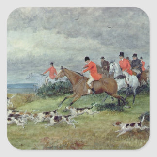 Fox Hunting in Surrey, 19th century Square Sticker