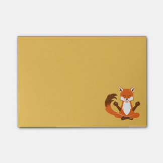 Fox in a yoga pose. post-it notes