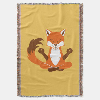 Fox in a yoga pose. throw blanket