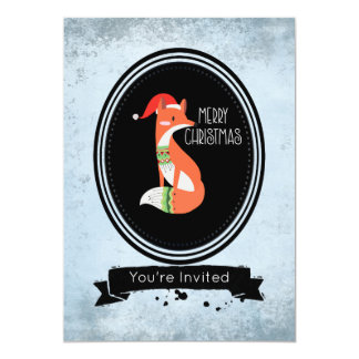 Fox in Christmas Hat in a Black Oval Party Card