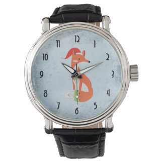 Fox in Christmas Hat on Blue Gray Vintage Backdrop Watch