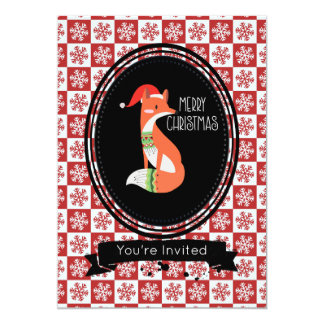 Fox in Christmas Hat on Snowflake Pattern Party Card