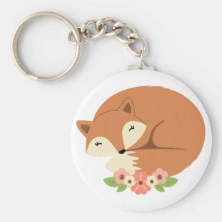 Fox In Flowers Keychain