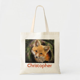 fox in log bag