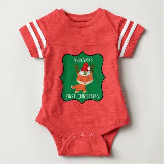 Fox In Reindeer Santa Hat First Christmas Baby Bodysuit