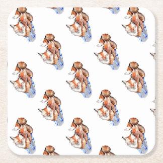 Fox in Socks Square Paper Coaster