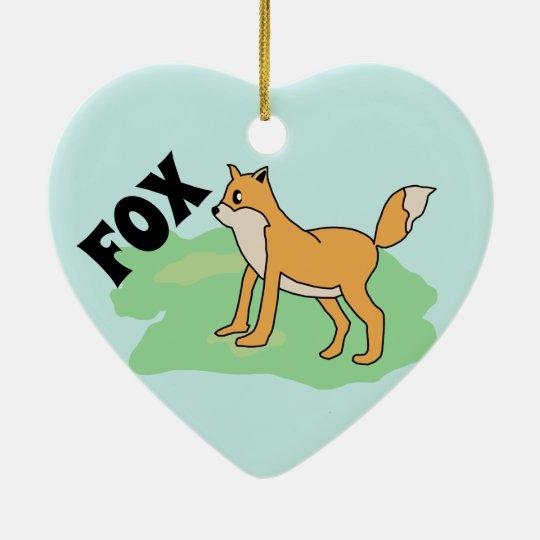 fox in the field ceramic ornament