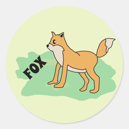 fox in the field classic round sticker