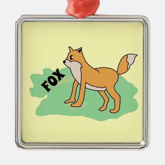 fox in the field metal ornament