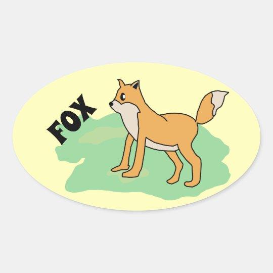 fox in the field oval sticker