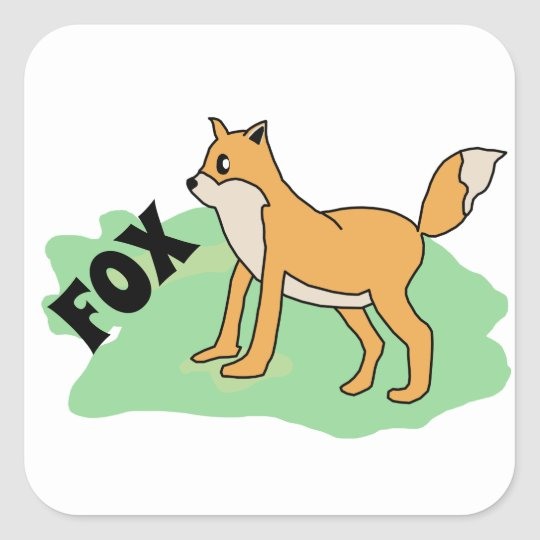 fox in the field square sticker